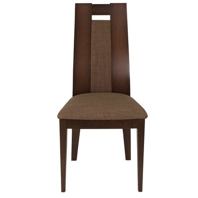 Mcburney Upholstered Dining Chair Upholstery Color: Honey Brown, Frame Color: Espresso