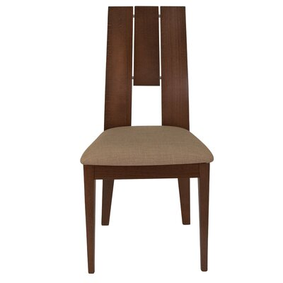 Mccaffery Curved Slat Upholstered Dining Chair Upholstery Color: Magnolia Brown, Frame Color: Walnut