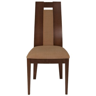 Mcburney Upholstered Dining Chair Upholstery Color: Brown, Frame Color: Walnut