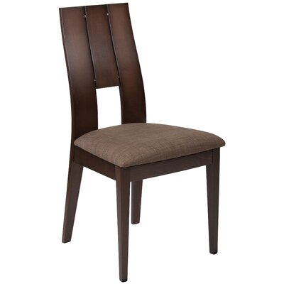 Mccaffery Curved Slat Upholstered Dining Chair Upholstery Color: Honey Brown, Frame Color: Espresso