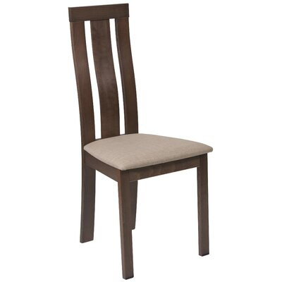 Mccaleb Slat Back Upholstered Dining Chair Upholstery Color: Magnolia Brown, Frame Color: Walnut