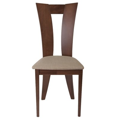 Mccalla Upholstered Dining Chair Upholstery Color: Light Brown, Frame Color: Walnut