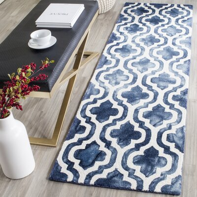 One-of-a-Kind Euphemia H-Tufted Wool Navy Area Rug Rug Size: Runner 23 x 8