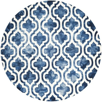 One-of-a-Kind Euphemia H-Tufted Wool Navy Area Rug Rug Size: Round 7