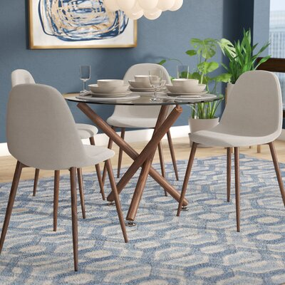 Jade Modern 5 Piece Dining Set Upholstery Color: Beige