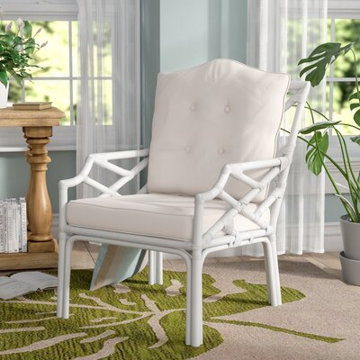 Margrett Rattan Armchair Finish: White