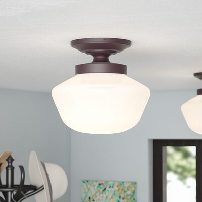 Boleynwood 1-Light Semi-Flush Mount Finish: Brushed Bronze
