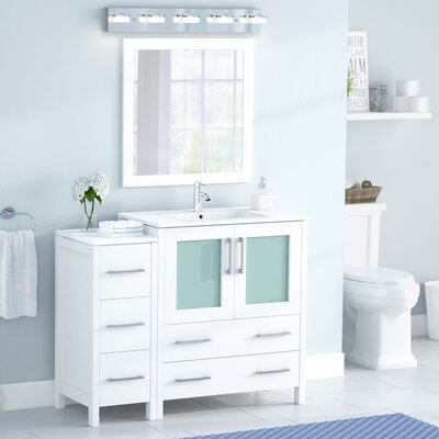 Karson 42 Single Bathroom Vanity Set with Mirror Base Finish: White