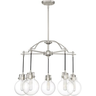 Diedrich 5-Light Candle-Style Chandelier Color: Brushed Nickel