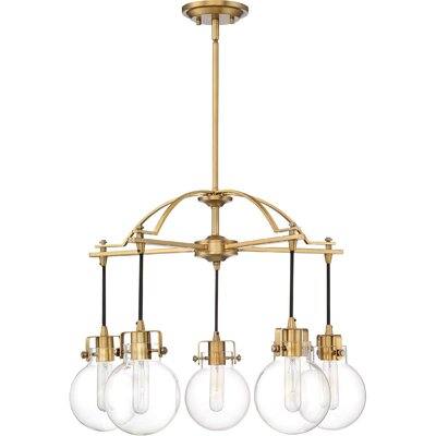 Diedrich 5-Light Candle-Style Chandelier Color: Weathered Brass