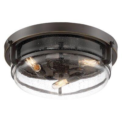 Dickison 3-Light Flush Mount Fixture Color: Clear, Shade Color: Palladian Bronze