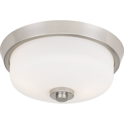 Didmarton 2-Light Flush Mount Fixture Color: Brushed Nickel, Shade Color: White, Size: 5.5 H x 13 W x 13 D