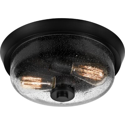 Didmarton 2-Light Flush Mount Fixture Color: Earth Black, Shade Color: Clear, Size: 5.5 H x 13 W x 13 D