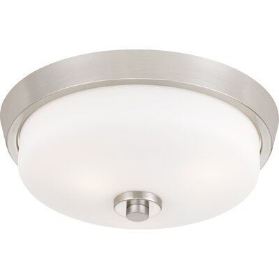 Didmarton 2-Light Flush Mount Fixture Color: Brushed Nickel, Shade Color: White, Size: 5.75 H x 14.75 W x 14.75 D