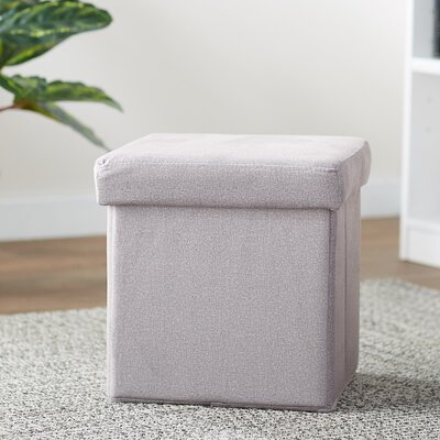 Britany Upholstered Folding Storage Ottoman Color: Gray