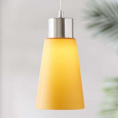 Leverett 1-Light Mini Pendant Base Finish: Satin Nickel, Shade Color: Yellow