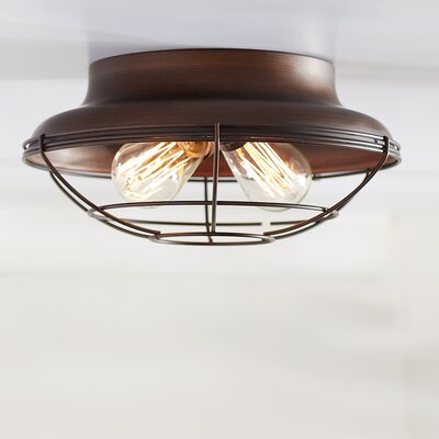 Bruges 2-Light Flush Mount Finish: Rubbed Bronze, Size: 5.5 H x 12 W x 12 D