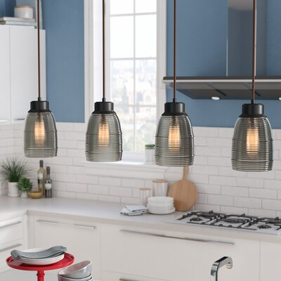Snyder Linear Pan 4-Light Kitchen Island Pendant Finish: Oil Rubbed Bronze/Champagne Plated