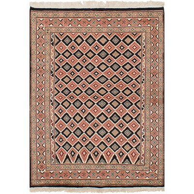 One-of-a-Kind Etting Hand-Knotted Wool Black/Copper Area Rug