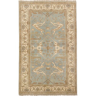 One-of-a-Kind Eudy Hand-Knotted Wool Light Blue Area Rug