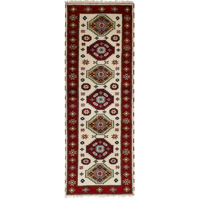One-of-a-Kind Etzel Hand-Knotted Wool Cream/Dark Red Area Rug