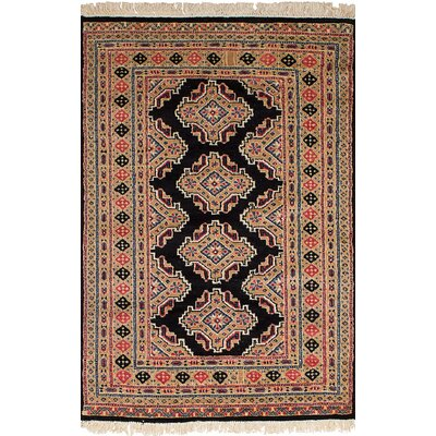 One-of-a-Kind Etting Hand-Knotted Wool Beige/Black Area Rug