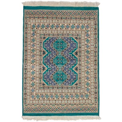 One-of-a-Kind Etting Hand-Knotted Wool Tan/Teal Area Rug