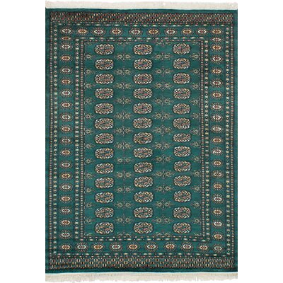 One-of-a-Kind Etting Hand-Knotted Wool Teal Area Rug