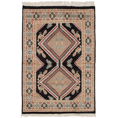 One-of-a-Kind Etting Hand-Knotted Wool Black/Tan Area Rug