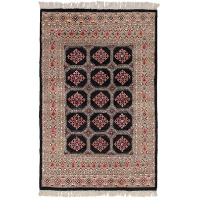 One-of-a-Kind Etting Hand-Knotted Wool Black/Dark Copper Area Rug