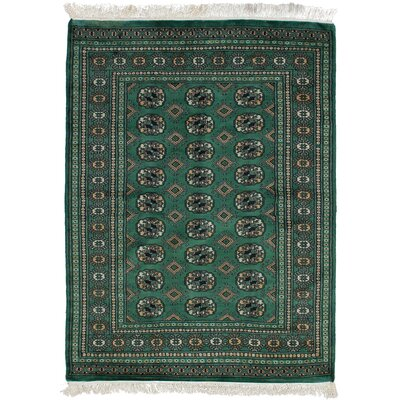 One-of-a-Kind Etter Hand-Knotted Wool Dark Green Area Rug
