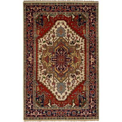 One-of-a-Kind Etna Hand-Knotted Wool Cream/Red Area Rug
