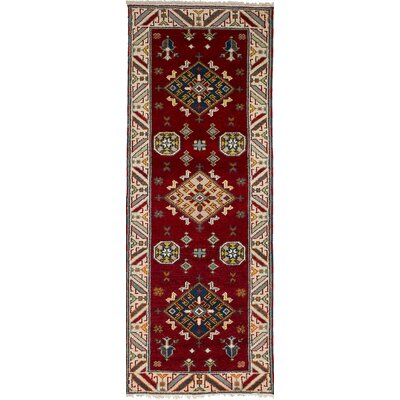 One-of-a-Kind Etzel Hand-Knotted Wool Dark Red Area Rug
