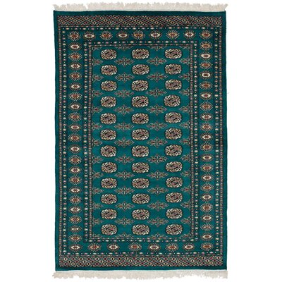 One-of-a-Kind Etter Hand-Knotted Wool Teal Area Rug