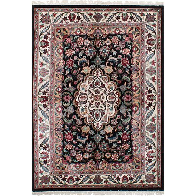 One-of-a-Kind Masiello Hand-Knotted Silk Black Area Rug
