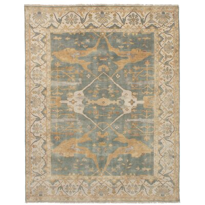 One-of-a-Kind Eudy Hand-Knotted Wool Light Denim Blue Area Rug