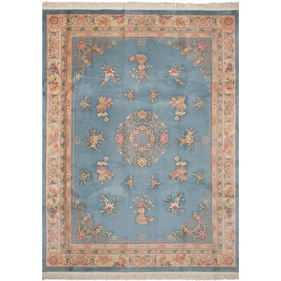 One-of-a-Kind Cournoyer Hand-Knotted Wool Turquoise Area Rug