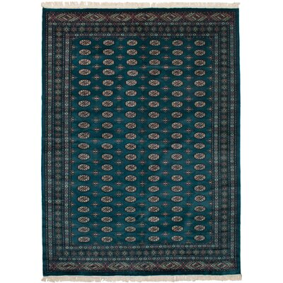 One-of-a-Kind Etting Hand-Knotted Wool Dark Green Area Rug