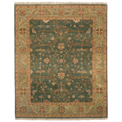 One-of-a-Kind Mathais Hand-Knotted Wool Teal Area Rug