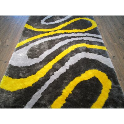 Clent Modern Hand-Tufted Gray/Yellow Area Rug Rug Size: Rectangle 5 x 7