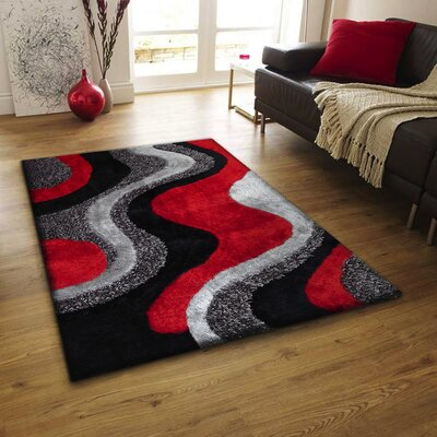 Pabst Shaggy Hand-Tufted Black/Red Area Rug