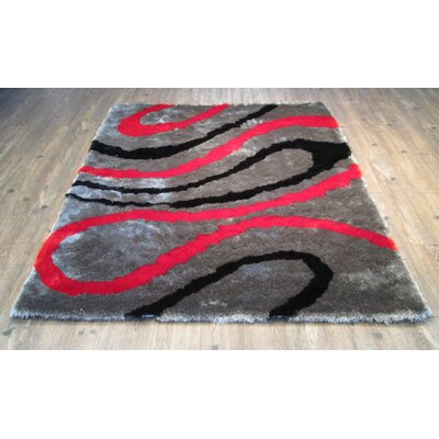 Cleavenger Modern Hand-Tufted Black/Red Area Rug Rug Size: Rectangle 7'6