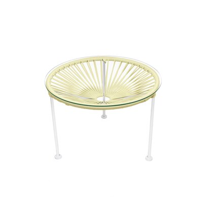 Cobby End Table Table Base Color: White, Table Top Color: Ivory