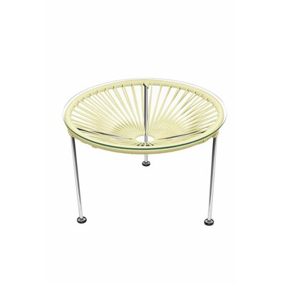 Cobby End Table Table Base Color: Chrome, Table Top Color: Ivory