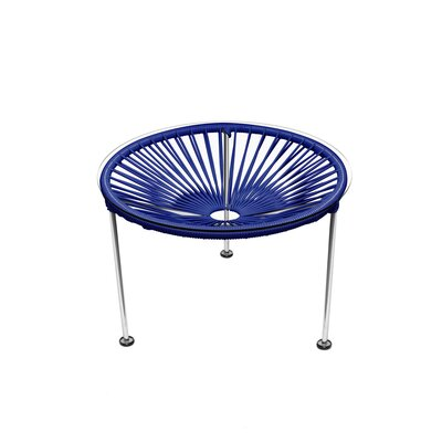 Cobby End Table Table Base Color: Chrome, Table Top Color: Deep Blue