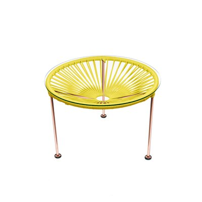 Cobby End Table Table Base Color: Copper, Table Top Color: Yellow