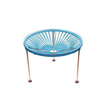 Cobby End Table Table Base Color: Copper, Table Top Color: Blue