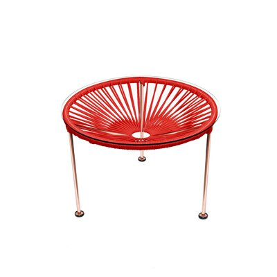 Cobby End Table Table Base Color: Copper, Table Top Color: Red
