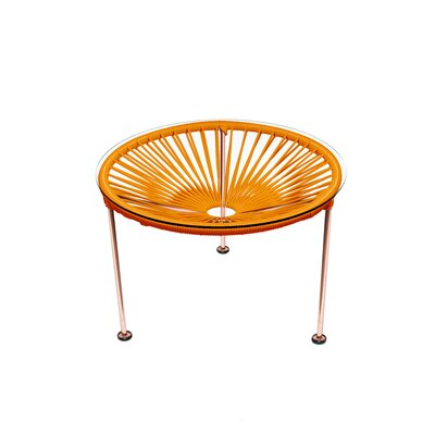 Cobby End Table Table Base Color: Copper, Table Top Color: Orange