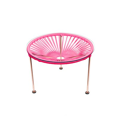 Cobby End Table Table Base Color: Copper, Table Top Color: Pink